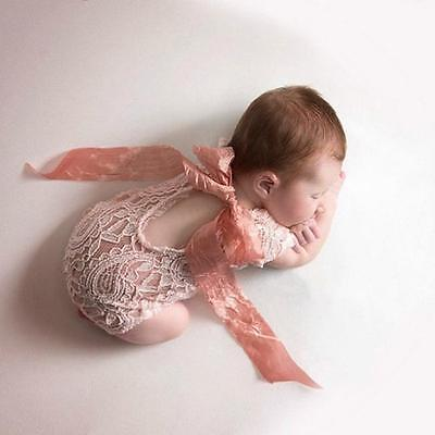 Newborn Baby Girls Photography Lace Floral Romper Photo Prop  FA