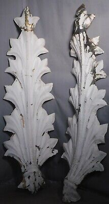Pair Classical Palm Fronds BIG Acanthus TIN Architectural Trim Theater Sconce