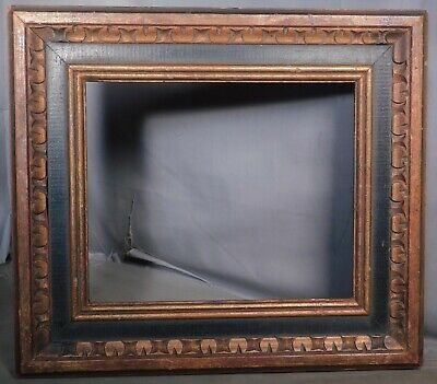 Vintage Carved Gilt Ebonized Wood Baroque Cassetta Picture Frame NOT10x12 Mexico