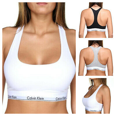 Calvin Klein Women CK Cotton Bralette Wire FREE Racer Back Stretch Sports Bra