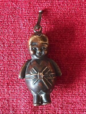 Antique Early Victorian Brass Baby's Rattle in the Form of a Large Baby Working