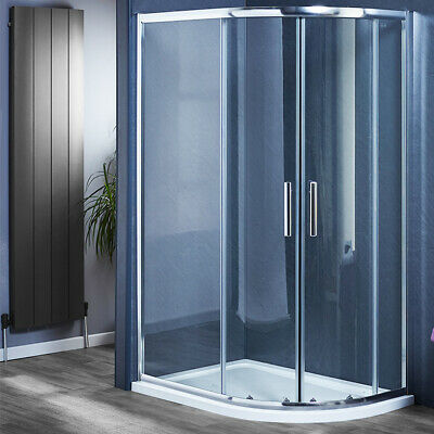 Offset Quadrant Shower Enclosure Corner Cubicle and Tray 800 900 1000 1200mm