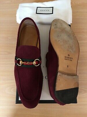 db46e4773 Gucci Mens Shoes Red Suede Horsebit Loafers Uk 8 42 Snaffle Green Web Worn  Once