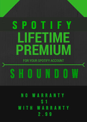 One Hour Delivery - LIFETIME WARRANTY GLOBAL PREMIUM SPOTIFY ALL DEVICES