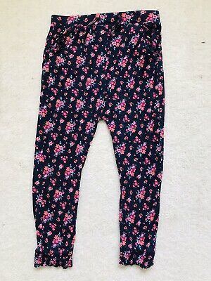 Girls Navy And Red Floral Pull Up Trousers Age 5-6 Years From Primark