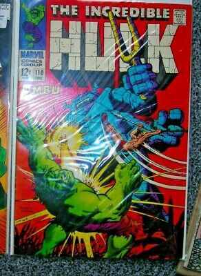 The INCREDIBLE HULK 110 MARVEL COMIC DEC 1968 FN 12CENTS unstamped silver age