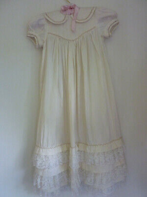 Vintage Silk Christening Gown beaded