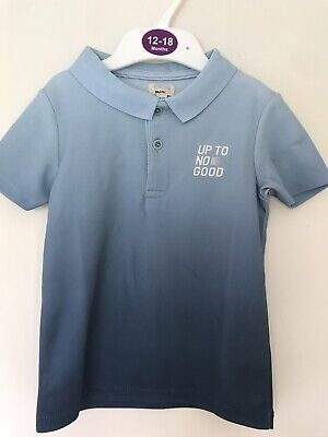 BNWOT River Island Polo T-Shirt. Boys.  Age 2 - 5 Years. Blue. 'Up To No Good'