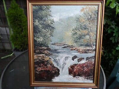 Gerald Hodgson oil on the board View of the waterfall