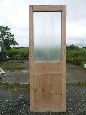 GL00d (25 1/2 x 74 3/4) Old Victorian Period Glazed Pine Door with Reeded Glass