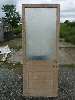 GL16 (29 1/4 x 75 3/4) Old Victorian Period Glazed Pine Door with Mottled Glass