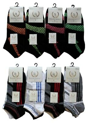 New 12 Pairs Mens Trainer Liner Ankle Socks Funky Designs Adults Sports UK 6-11