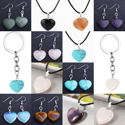 Love HEART Gemstone Natural Agate Stone Pendant Necklace Jewelry Keychain Charm