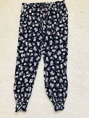 Girls Navy And Pink Floral Pull Up Trousers Age 5-6 Years From Primark