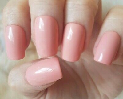 Hand Painted Nude False Nails. 20 Medium Square Press-on Nails. Glossy.