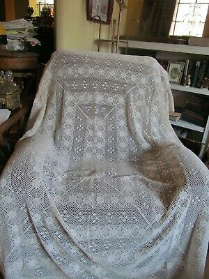 Vtg Crocheted Cotton Lace Large Tablecloth 58 x 82 Creamy Off White GORGEOUS