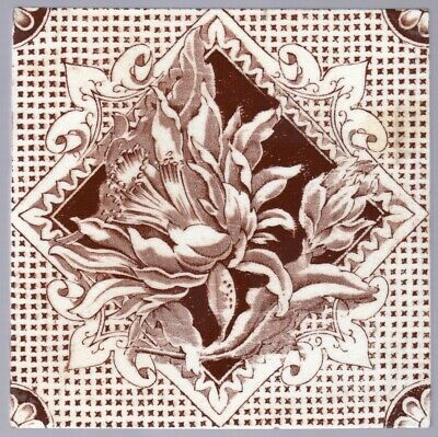 T & R Boote - c1895 -  Chocolate Brown Floral - Antique Victorian Tile