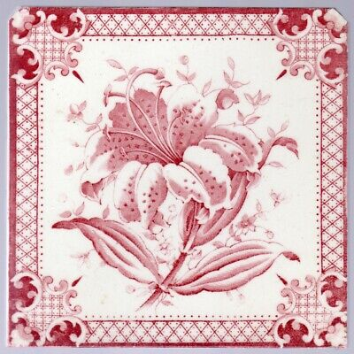 Decorative Art Tile Co. - c1880  Pink Muscadet Oriental Lily - Antique Tile