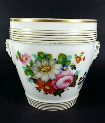 Antique French Paris Porcelain Empire Porcelain Cache Pot Planter Hand Painted