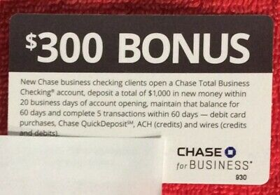 CHASE $300 BONUS BUSINESS CHECKING 11/19/2018 E-delivery Coupon