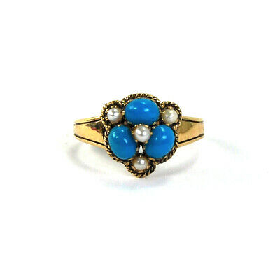 Antique Turquoise Seed Pearl Ring 9k Gold English Hallmarks 1913 Size 7.5