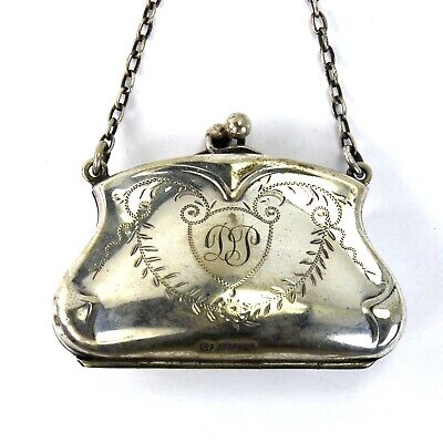Antique Victorian Silver Plated Chatelaine Purse English Hallmarks circa 1900