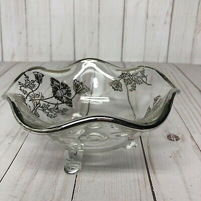 Vintage Gorgeous  Footed Glass Silver Overlay and Rimmed Candy Dish Bowl