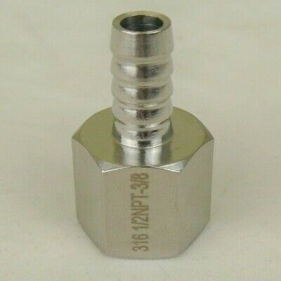 """316 Stainless Steel 3/8"""" Hose Barb to 1/2"""" Female NPT SS Fitting Pipe USA Seller"""