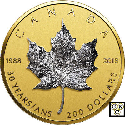 2018 '30th Ann. of the Silver Maple Leaf' Prf $200 Fine Gold Coin(18523) (OOAK)