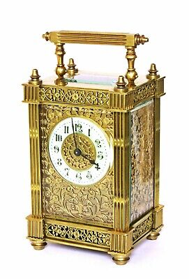 Antique French Carriage Clock, Full Gilt Filigree On 3 Sides, Excellent, Working