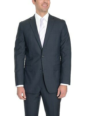 Bar III Slim Fit Navy Blue Tonal Plaid Two Button 100% Wool Suit 44R 38x30
