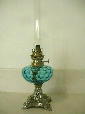 Vintage French Oil Lamp Beautiful Blue Glass, Silver Coloured Base. Brass Burner