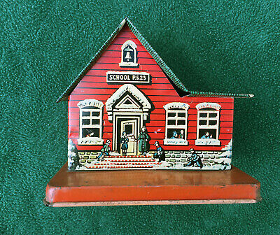 Vintage Metal Toy Mfg Co Tin PS23 School House Bank Lollipop Holder 1940's