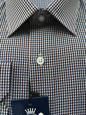 New Premium Mens Smart Long Sleeve Formal Casual Dress Brown Blue Checked Shirt