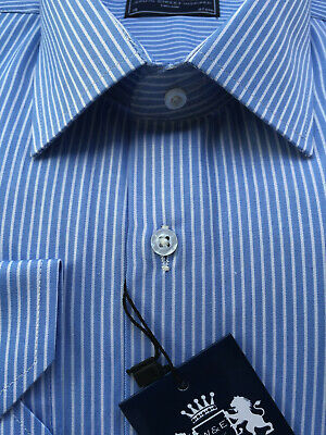 New Premium Mens Business Smart LongSleeve Formal Casual Light Blue Stripe Shirt