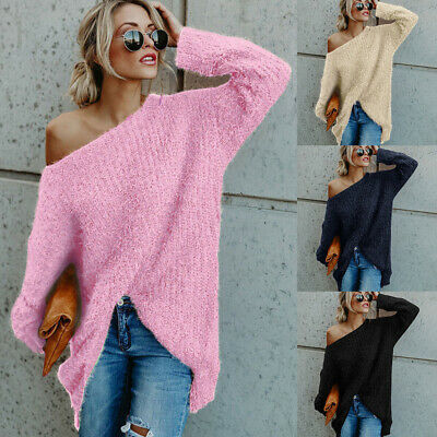 Womens Fluffy Off Shoulder Sweater Jumper Ladies Baggy Long Sleeve Pullover Top