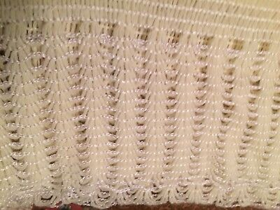 CRADLE KNIT Original 1970s Knit Baby Blanket Throw Afghan Yellow White Soft VTG