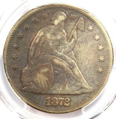 1872 Seated Liberty Silver Dollar $1 - PCGS Fine Details - Rare Certified Coin!