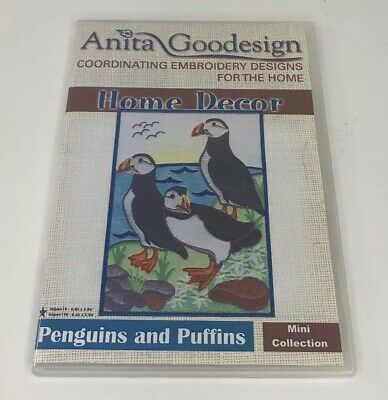Anita Goodesign Embroidery CD Home Decor Penguins and Puffins Mini Collection