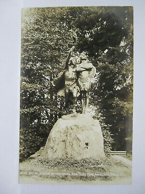 Coming Of The White Man Statue Real Photo Postcard Portland Or Oregon 1915 Rppc
