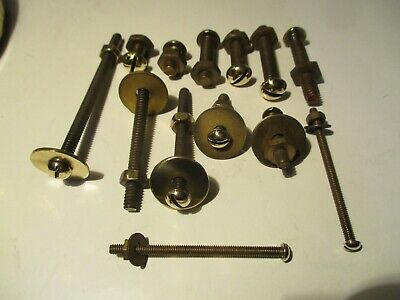 13  Assorted Solid Brass Slot Screws Round Head Polished Heads & Nuts.  VGC