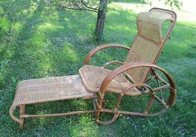 Mid Century Vgt Bamboo Rattan Chaise Lounge Chair Ottoman Pretzel Arms Wicker