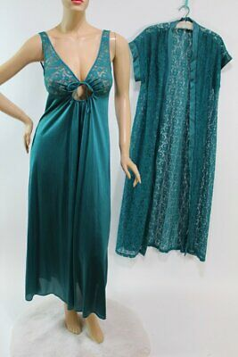 Vtg Val Mode Nylon lace Nightgown Piengoir set Green Medium USA