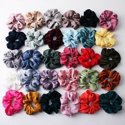 Satin Solid Hair Scrunchies Women Elastic Hair Bands Ponytail Holder 30 Colors