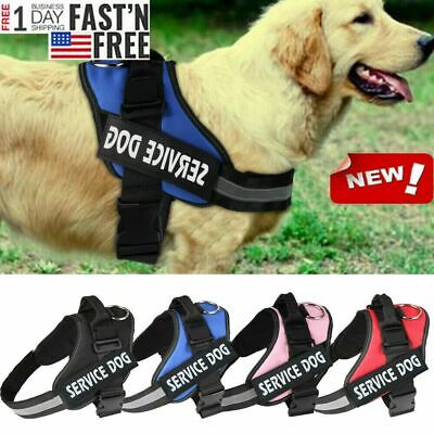 Reflective Service Dog In Training Vest Dog Harness Padded Label Patches S-2XL