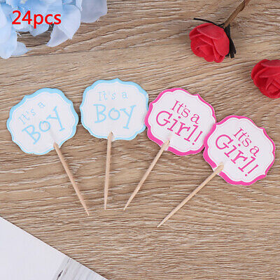 24pcs boy girl Cupcake Cake Toppers Baby Shower Kids Favors Birthday Decor FT