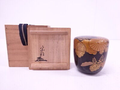 4253969: Japanese Tea Ceremony / Lacquered Tea Caddy Paulownia Chrysanthemum Nat
