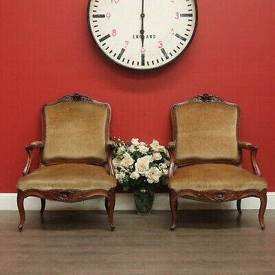 Pair of Armchairs, French, Walnut and Fabric, Lounge, Bedroom, Armchairs Chairs