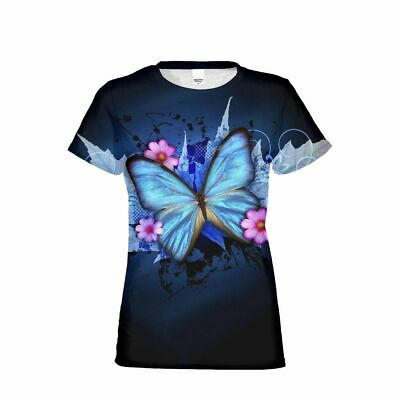 Fashion Butterfly Print Women Girls T-Shirt Custom Summer Short Sleeve Tops Tee