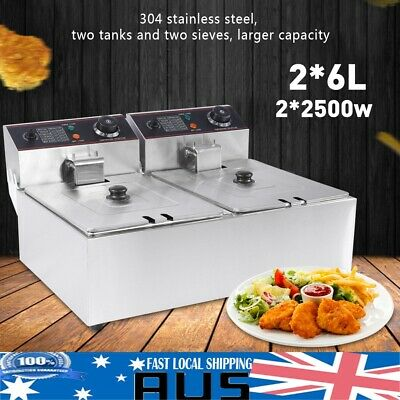 12L Electric Commercial Deep Fryer Twin Frying Basket Chip Cooker 5000W 220-240V